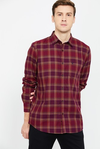 ALLEN SOLLY Men Checked Full Sleeves Slim Fit Shirt