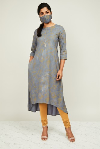 MELANGE Women Printed A-line Kurta with Mask