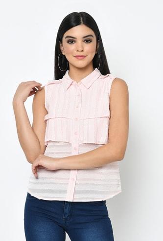 LATIN QUARTERS Women Striped Sleeveless Shirt