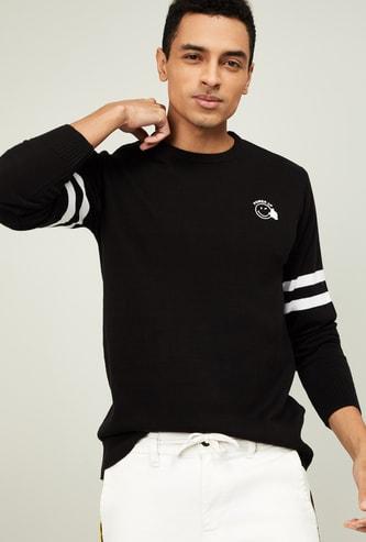 SMILEY Men Textured Full Sleeves Sweater