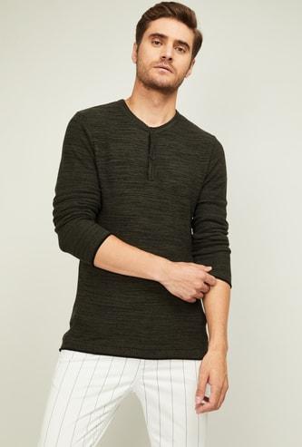 FAME FOREVER Men Textured Crew-Neck Sweater