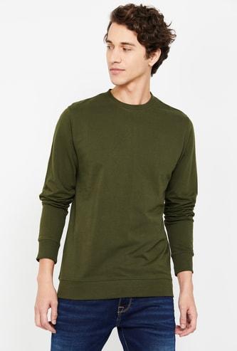 FAME FOREVER Men Solid Regular Fit Crew-Neck Sweatshirt