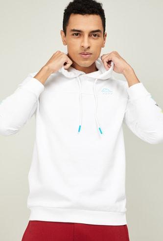 KAPPA Men Solid Full Sleeves Hooded Sweatshirt