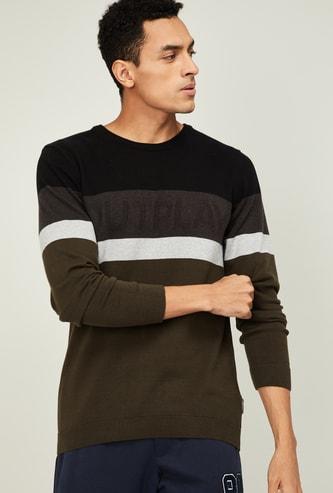 KAPPA Men Colourblock Full Sleeves Sweater