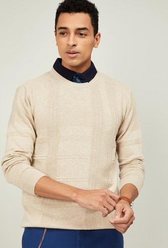 CODE Men Textured Full Sleeves Sweater