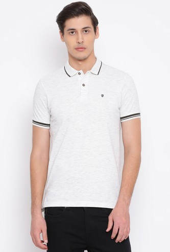 NUMERO UNO Men Textured Regular Fit Polo T-shirt