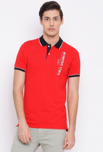NUMERO UNO Men Printed Regular Fit Polo T-shirt