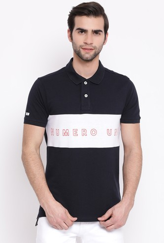 NUMERO UNO Men Regular Fit Polo T-shirt with Chest Print