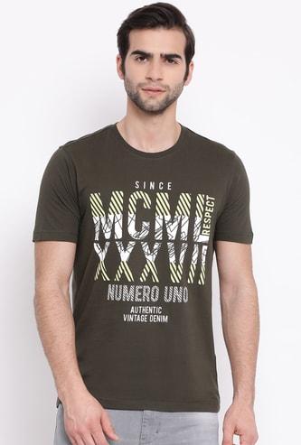 NUMERO UNO Men Typographic Print Short Sleeves Regular Fit T-shirt