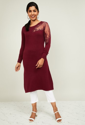 MELANGE Women Embellished Straight Lurta with Cutout