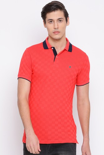 NUMERO UNO Men Solid Regular Fit Polo T-shirt with Contrast Collar