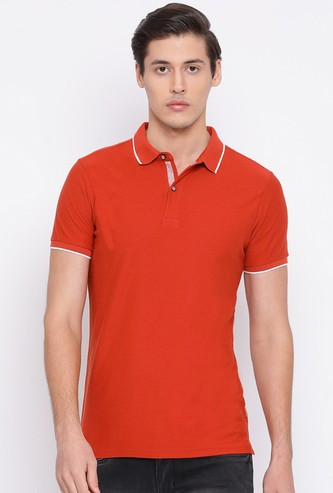 NUMERO UNO Men Solid Regular Fit Polo T-shirt