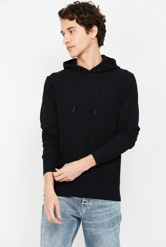FAME FOREVER Virobar Men Solid Hooded Sweatshirt