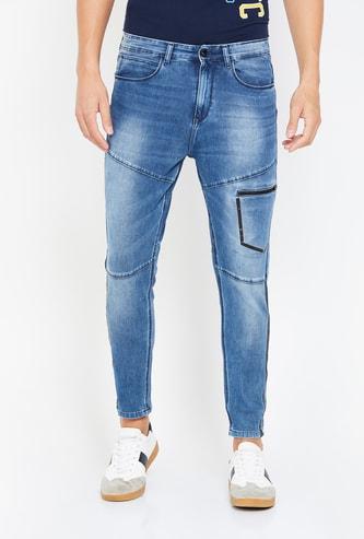 SPYKAR Men Dark Washed Skinny Jeans with Mesh Panel