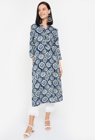 AMUKTI Women Printed Three-quarter Sleeves Kurta