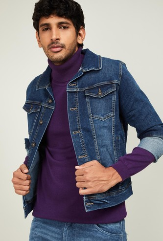 PEPE JEANS Men Dark Washed Denim Jacket