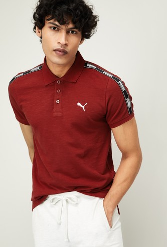 PUMA Men Solid Short Sleeves Regular Fit Polo T-shirt