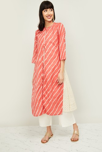MELANGE Women Striped Three-quarter Sleeves Kurta