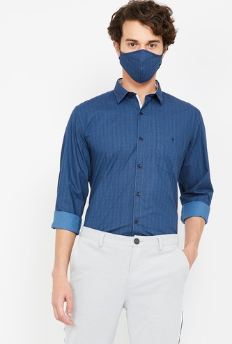 VH SPORTS Men Striped Slim Fit Casual Shirt with Mask