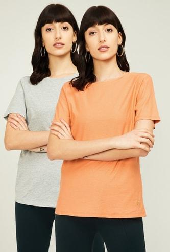 VAN HEUSEN Women Solid Short Sleeves T-shirt - Set of 2 Pcs