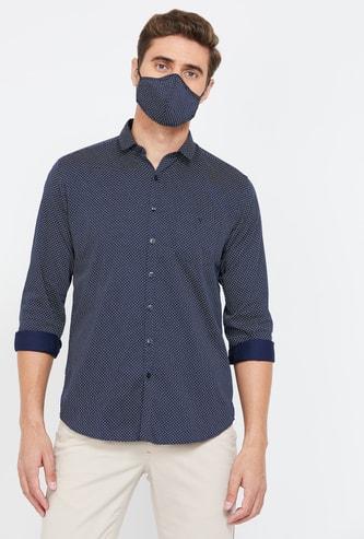 V DOT Men Printed Slim Fit Casual Shirt with Mask