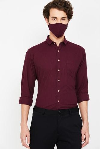 V DOT Men Solid Slim Fit Casual Shirt with Mask