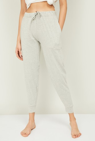 GINGER Women Textured Elasticated Lounge Joggers