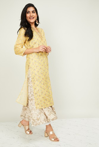 MELANGE Women Printed Layered A-line Kurta