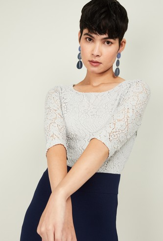 CODE Women Floral Lace Round-Neck Top