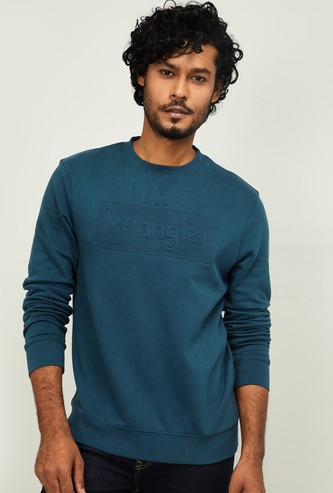 WRANGLER Men Embossed Full Sleeves Sweatshirt