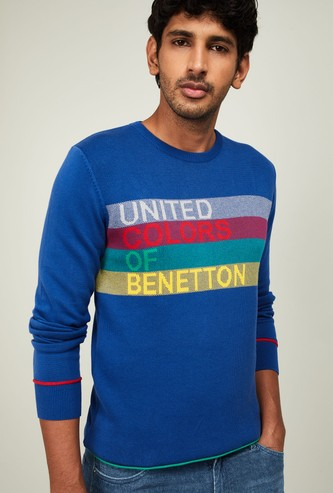 UNITED COLORS OF BENETTON Men Textured Full Sleeves Sweater