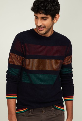 UNITED COLORS OF BENETTON Men Patterned Full Sleeves Sweater