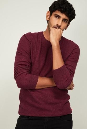 UNITED COLORS OF BENETTON Men Melange Full Sleeves Sweater
