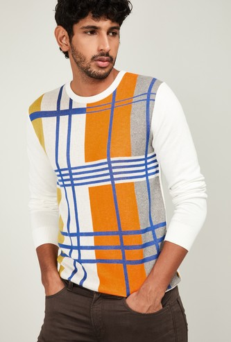 UNITED COLORS OF BENETTON Men Checked Full Sleeves Sweater