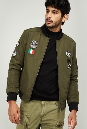 UNITED COLORS OF BENETTON Men Applique Zip-Closure Jacket