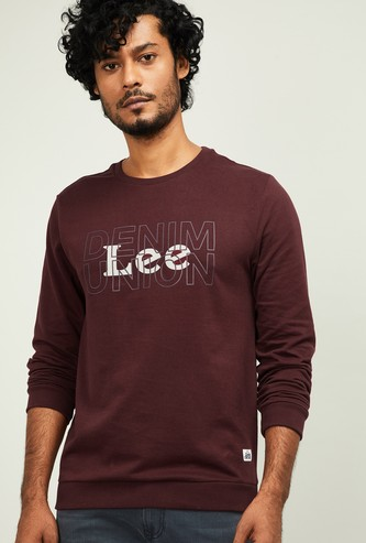 LEE Men Typographic Print Full Sleeves Sweatshirt