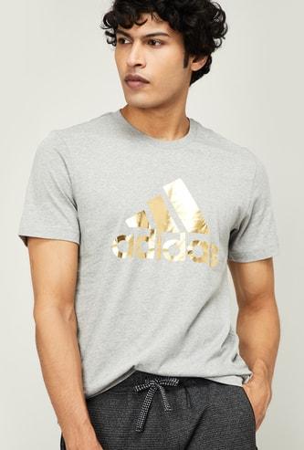 ADIDAS Men Typographic Print Short Sleeves Regular Fit T-shirt