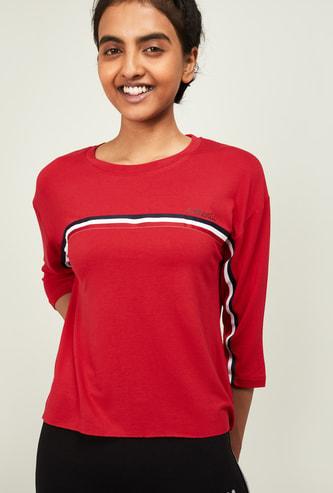 KAPPA Women Striped Three-quarter Sleeves T-shirt