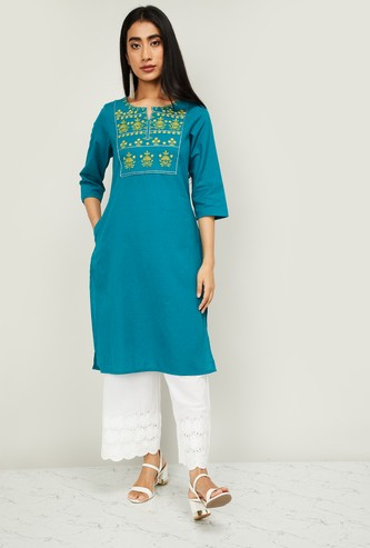 MELANGE Women Floral Embroidery Straight Kurta