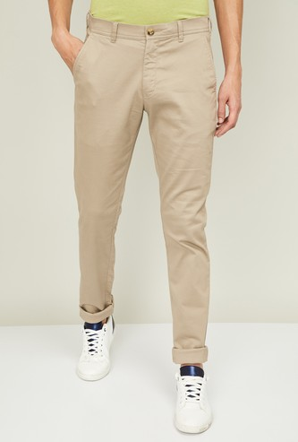 COLORPLUS Men Solid Super Slim Chinos