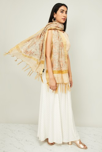 DE MOZA Floral Print Stole with Tasseled Border