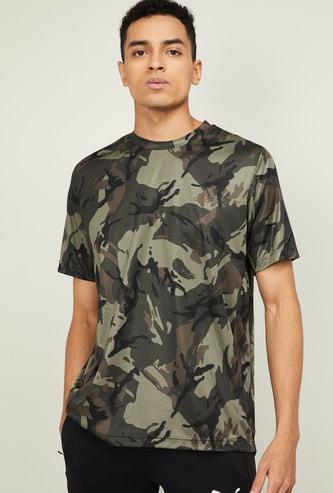 ADIDAS Men Camo Print Regular Fit Crew Neck T-shirt