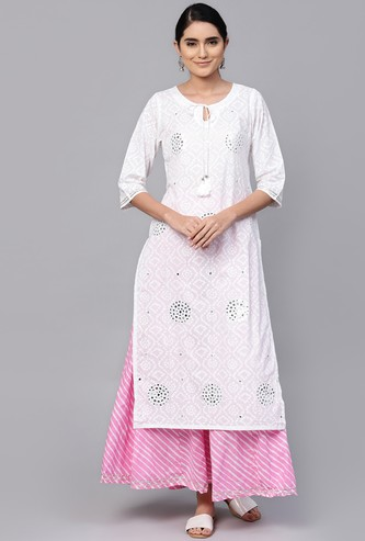 ISHIN Women Printed Straight Kurta with Striped Palazzzo Pants