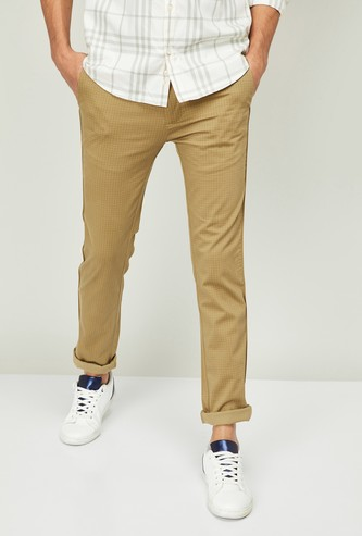 V DOT Men Checked Super Slim Chinos