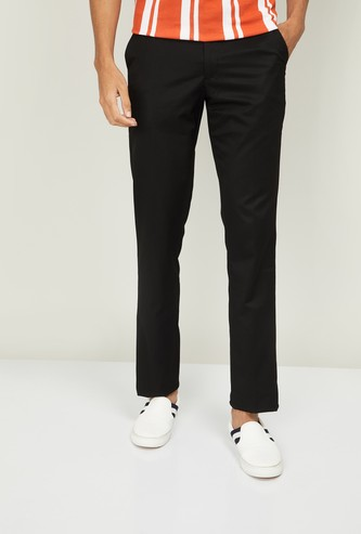 V DOT Men Solid Super Slim Fit Casual Trousers