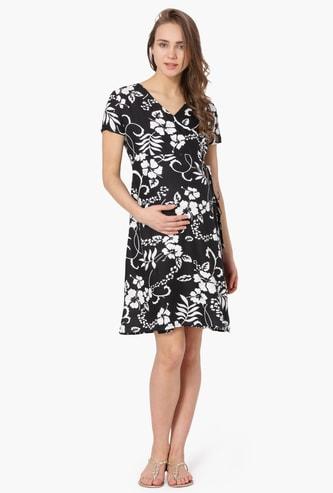 MAX Printed Wrap-Up Maternity Dress