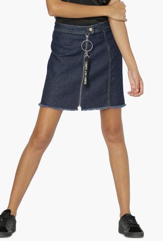 MAX Tape Detail Frayed Hem Denim Skirt