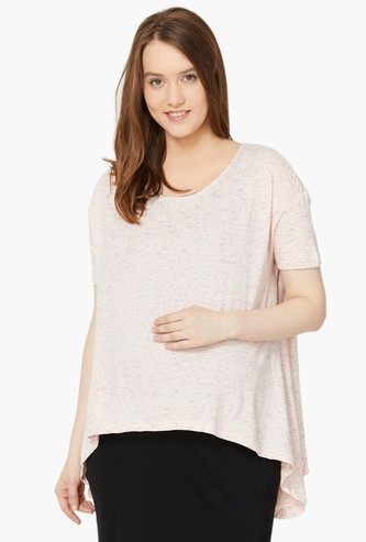 MAX Patterned Knit Drop Shoulders Maternity Layered Dress