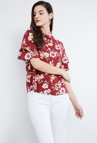 MAX Printed Drop Shoulders Flared Sleeve Shirt