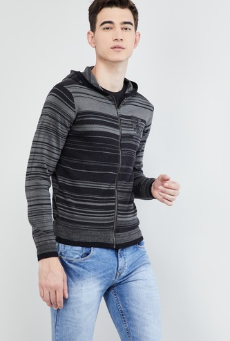 MAX Striped Zip Closure Hooded Sweater